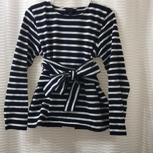J. Crew striped top with tie at waist